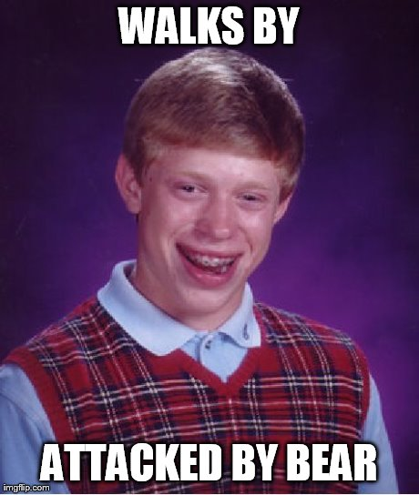 WALKS BY ATTACKED BY BEAR | image tagged in memes,bad luck brian | made w/ Imgflip meme maker