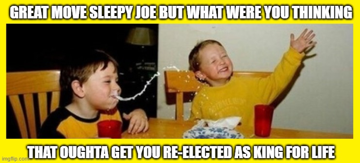 GREAT MOVE SLEEPY JOE BUT WHAT WERE YOU THINKING; THAT OUGHTA GET YOU RE-ELECTED AS KING FOR LIFE | image tagged in sleepy joe milk | made w/ Imgflip meme maker