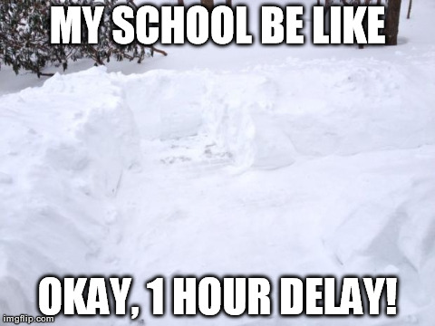 Schools on snow days be like.... | MY SCHOOL BE LIKE OKAY, 1 HOUR DELAY! | image tagged in snow day,school,lame,fail,funny,dangerous | made w/ Imgflip meme maker