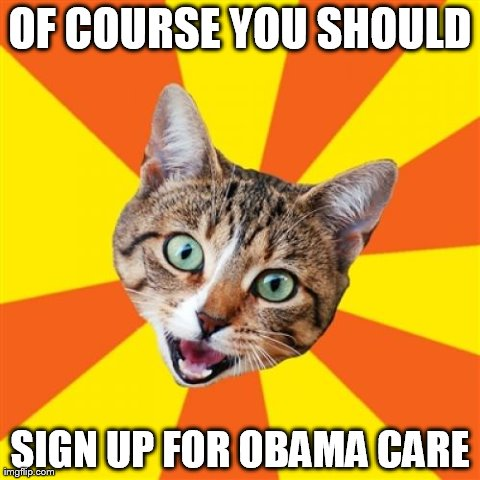Bad Advice Cat | OF COURSE YOU SHOULD SIGN UP FOR OBAMA CARE | image tagged in memes,bad advice cat | made w/ Imgflip meme maker