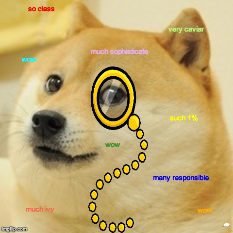 Doge So Classy | so class wow much sophisticate wow such 1% many responsible wow much ivy very caviar | image tagged in memes,doge,classy,class,monocle | made w/ Imgflip meme maker