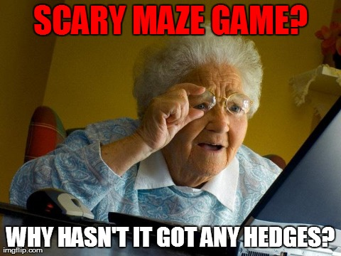Grandma Finds The Internet | SCARY MAZE GAME? WHY HASN'T IT GOT ANY HEDGES? | image tagged in memes,grandma finds the internet | made w/ Imgflip meme maker