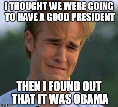 1990s First World Problems | I THOUGHT WE WERE GOING TO HAVE A GOOD PRESIDENT THEN I FOUND OUT THAT IT WAS OBAMA | image tagged in memes,1990s first world problems | made w/ Imgflip meme maker