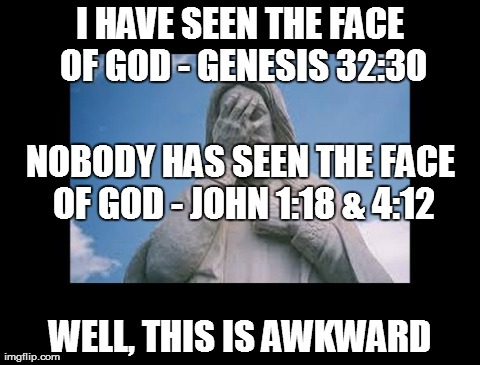 I have seen the face of god | I HAVE SEEN THE FACE OF GOD - GENESIS 32:30 WELL, THIS IS AWKWARD NOBODY HAS SEEN THE FACE OF GOD - JOHN 1:18 & 4:12 | image tagged in jesus,facepalm,god,religion | made w/ Imgflip meme maker