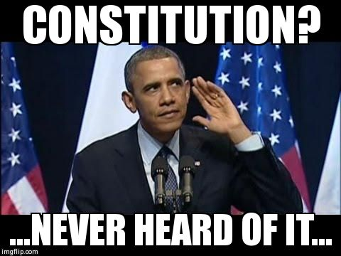 Obama No Listen Meme | CONSTITUTION? ...NEVER HEARD OF IT... | image tagged in barack obama | made w/ Imgflip meme maker