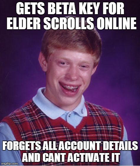Bad Luck Brian Meme | GETS BETA KEY FOR ELDER SCROLLS ONLINE FORGETS ALL ACCOUNT DETAILS AND CANT ACTIVATE IT | image tagged in memes,bad luck brian,AdviceAnimals | made w/ Imgflip meme maker