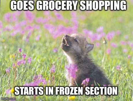 Baby Insanity Wolf Meme | GOES GROCERY SHOPPING STARTS IN FROZEN SECTION | image tagged in memes,baby insanity wolf,AdviceAnimals | made w/ Imgflip meme maker