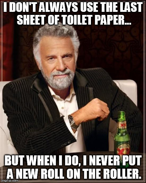Wasn't me! | I DON'T ALWAYS USE THE LAST SHEET OF TOILET PAPER... BUT WHEN I DO, I NEVER PUT A NEW ROLL ON THE ROLLER. | image tagged in memes,the most interesting man in the world,toilet paper,wasn't me | made w/ Imgflip meme maker