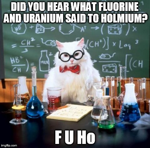 Chemistry Cat Meme | DID YOU HEAR WHAT FLUORINE AND URANIUM SAID TO HOLMIUM? F U Ho | image tagged in memes,chemistry cat | made w/ Imgflip meme maker