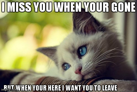First World Problems Cat | I MISS YOU WHEN YOUR GONE BUT WHEN YOUR HERE I WANT YOU TO LEAVE | image tagged in memes,first world problems cat | made w/ Imgflip meme maker