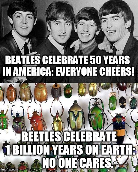 BEATLES CELEBRATE 50 YEARS IN AMERICA: EVERYONE CHEERS! BEETLES CELEBRATE 1 BILLION YEARS ON EARTH:        NO ONE CARES. | image tagged in beatles fifty years | made w/ Imgflip meme maker