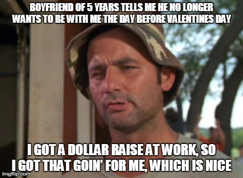 So I Got That Goin For Me Which Is Nice Meme | BOYFRIEND OF 5 YEARS TELLS ME HE NO LONGER WANTS TO BE WITH ME THE DAY BEFORE VALENTINES DAY  I GOT A DOLLAR RAISE AT WORK, SO I GOT THAT GO | image tagged in memes,so i got that goin for me which is nice,AdviceAnimals | made w/ Imgflip meme maker