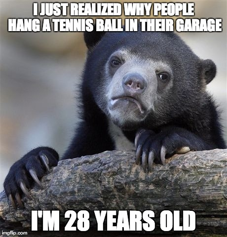 Confession Bear Meme | I JUST REALIZED WHY PEOPLE HANG A TENNIS BALL IN THEIR GARAGE I'M 28 YEARS OLD | image tagged in memes,confession bear,AdviceAnimals | made w/ Imgflip meme maker
