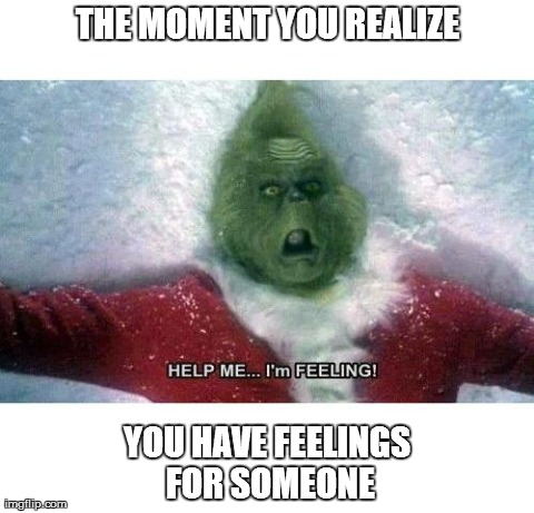 FEEEEELINNNGGG!!!! | THE MOMENT YOU REALIZE YOU HAVE FEELINGS FOR SOMEONE | image tagged in memes,funny,grinch,feels | made w/ Imgflip meme maker