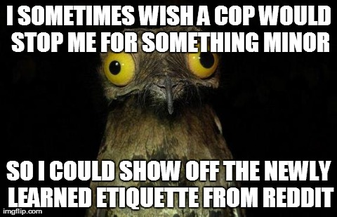 Weird Stuff I Do Potoo Meme | I SOMETIMES WISH A COP WOULD STOP ME FOR SOMETHING MINOR SO I COULD SHOW OFF THE NEWLY LEARNED ETIQUETTE FROM REDDIT | image tagged in memes,weird stuff i do potoo,AdviceAnimals | made w/ Imgflip meme maker