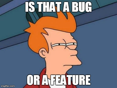 Futurama Fry Meme | IS THAT A BUG OR A FEATURE | image tagged in memes,futurama fry | made w/ Imgflip meme maker