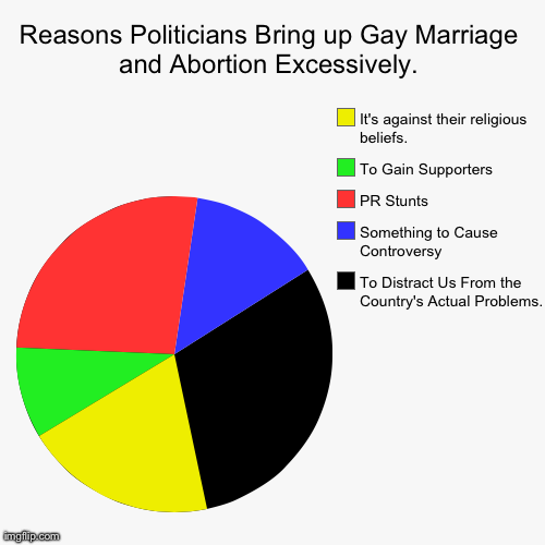 Accurate I'd Say. | Reasons Politicians Bring up Gay Marriage and Abortion Excessively. | To Distract Us From the Country's Actual Problems., Something to Cause | image tagged in funny,pie charts | made w/ Imgflip pie chart maker