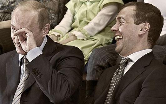 Putin laughing with medvedev Meme Template