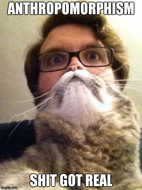 Surprised CatMan | ANTHROPOMORPHISM    SHIT GOT REAL | image tagged in memes,surprised catman | made w/ Imgflip meme maker