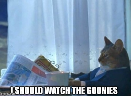I Should Buy A Boat Cat Meme | I SHOULD WATCH THE GOONIES | image tagged in memes,i should buy a boat cat,AdviceAnimals | made w/ Imgflip meme maker