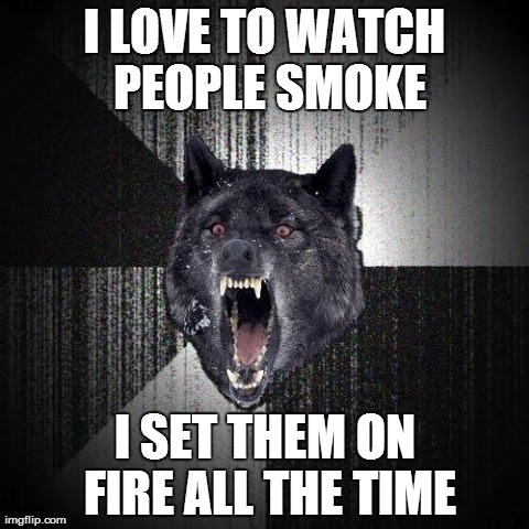 A Stoner friend just said the top line. I added the bottom line. | I LOVE TO WATCH PEOPLE SMOKE I SET THEM ON FIRE ALL THE TIME | image tagged in insanity wolf,memes,funny,smoking,stoned,high | made w/ Imgflip meme maker