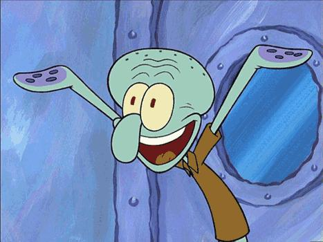 Squidward-Happy Meme Template