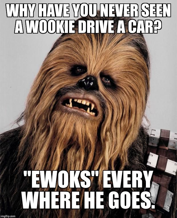 "Chew-on-that | WHY HAVE YOU NEVER SEEN A WOOKIE DRIVE A CAR? ""EWOKS"" EVERY WHERE HE GOES. 