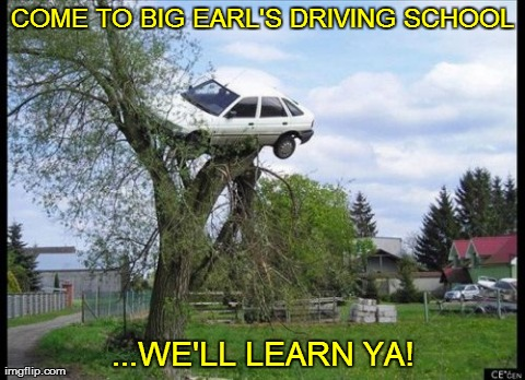 Big Earl's  Driving  School | COME TO BIG EARL'S DRIVING SCHOOL ...WE'LL LEARN YA! | image tagged in memes,car in tree,funny,driving school | made w/ Imgflip meme maker