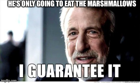 George Zimmer | HE'S ONLY GOING TO EAT THE MARSHMALLOWS | image tagged in george zimmer,AdviceAnimals | made w/ Imgflip meme maker