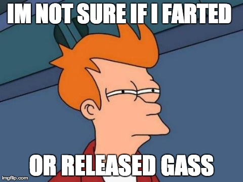 Futurama Fry Meme | IM NOT SURE IF I FARTED  OR RELEASED GASS | image tagged in memes,futurama fry | made w/ Imgflip meme maker