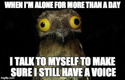 Weird Stuff I Do Potoo Meme | WHEN I'M ALONE FOR MORE THAN A DAY I TALK TO MYSELF TO MAKE SURE I STILL HAVE A VOICE | image tagged in memes,weird stuff i do potoo,AdviceAnimals | made w/ Imgflip meme maker