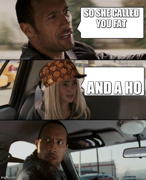 The Rock Driving Meme | SO SHE CALLED YOU FAT  AND A HO | image tagged in memes,the rock driving,scumbag | made w/ Imgflip meme maker