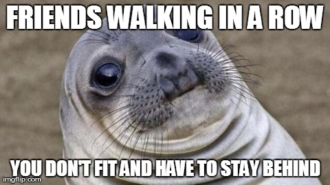 Awkward Moment Sealion | FRIENDS WALKING IN A ROW YOU DON'T FIT AND HAVE TO STAY BEHIND | image tagged in awkward moment seal,AdviceAnimals | made w/ Imgflip meme maker