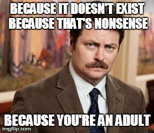 Ron Swanson | BECAUSE IT DOESN'T EXIST BECAUSE THAT'S NONSENSE BECAUSE YOU'RE AN ADULT | image tagged in memes,ron swanson | made w/ Imgflip meme maker