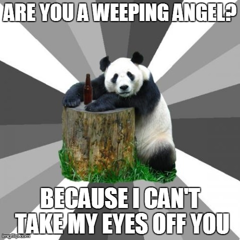 Doctor Who Pickup Line | ARE YOU A WEEPING ANGEL? BECAUSE I CAN'T TAKE MY EYES OFF YOU | image tagged in memes,pickup line panda | made w/ Imgflip meme maker