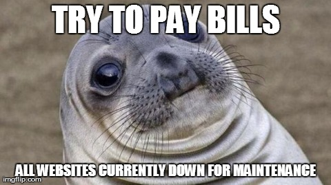 Awkward Moment Sealion | TRY TO PAY BILLS ALL WEBSITES CURRENTLY DOWN FOR MAINTENANCE | image tagged in awkward moment seal,AdviceAnimals | made w/ Imgflip meme maker