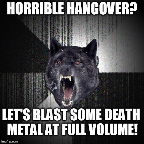 Hangover | HORRIBLE HANGOVER? LET'S BLAST SOME DEATH METAL AT FULL VOLUME! | image tagged in memes,insanity wolf,death metal,funny | made w/ Imgflip meme maker