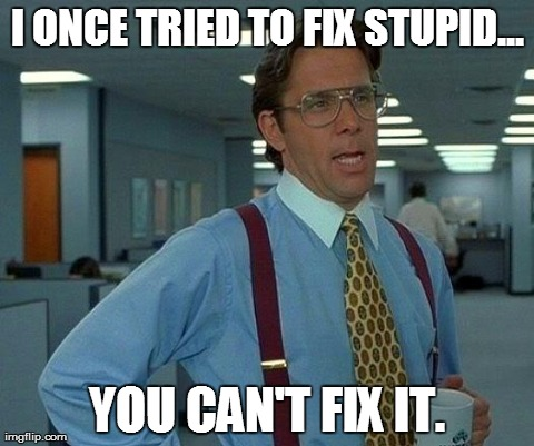 Image result for you cant fix stupid meme