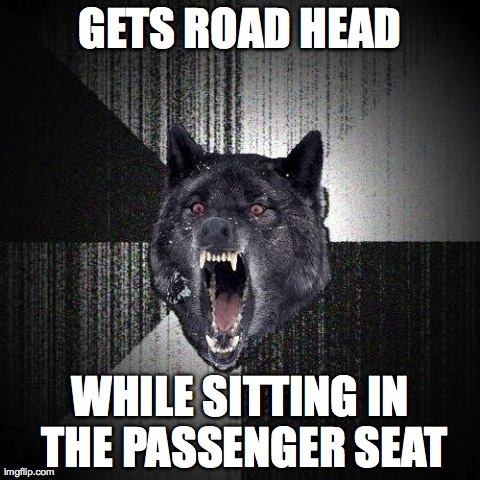 Insanity Wolf Meme | GETS ROAD HEAD WHILE SITTING IN THE PASSENGER SEAT | image tagged in memes,insanity wolf,AdviceAnimals | made w/ Imgflip meme maker