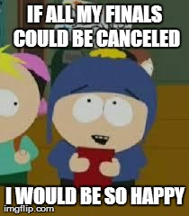 Craig | IF ALL MY FINALS COULD BE CANCELED I WOULD BE SO HAPPY | image tagged in craig | made w/ Imgflip meme maker