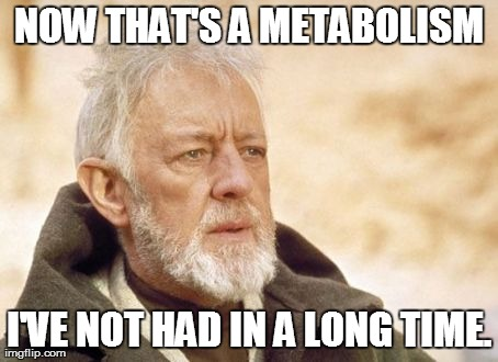 Obi Wan Kenobi Meme | NOW THAT'S A METABOLISM I'VE NOT HAD IN A LONG TIME. | image tagged in memes,obi wan kenobi,AdviceAnimals | made w/ Imgflip meme maker