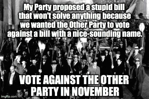 My Party proposed a stupid bill that won't solve anything because we wanted the Other Party to vote against a bill with a nice-sounding name | made w/ Imgflip meme maker