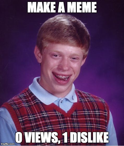 Bad Luck Brian Meme | MAKE A MEME 0 VIEWS, 1 DISLIKE | image tagged in memes,bad luck brian | made w/ Imgflip meme maker