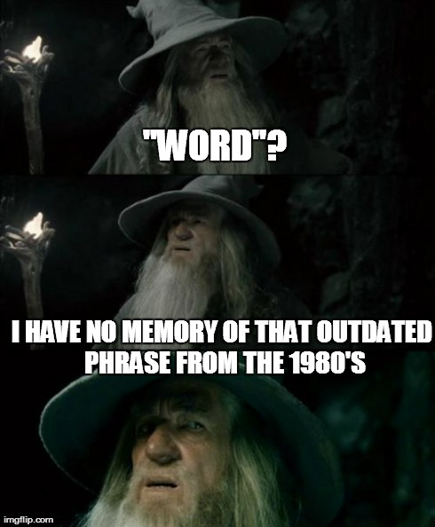 "Confused Gandalf Meme | ""WORD""? I HAVE NO MEMORY OF THAT OUTDATED PHRASE FROM THE 1980'S 