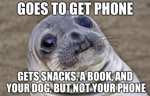 Awkward Moment Sealion Meme | GOES TO GET PHONE GETS SNACKS, A BOOK, AND YOUR DOG, BUT NOT YOUR PHONE | image tagged in memes,awkward moment sealion | made w/ Imgflip meme maker
