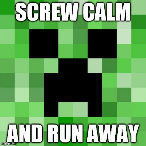 Scumbag Minecraft | SCREW CALM AND RUN AWAY | image tagged in memes,scumbag minecraft | made w/ Imgflip meme maker