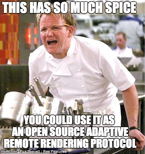 Chef Gordon Ramsay Meme | THIS HAS SO MUCH SPICE YOU COULD USE IT AS AN OPEN SOURCE ADAPTIVE REMOTE RENDERING PROTOCOL | image tagged in memes,chef gordon ramsay | made w/ Imgflip meme maker