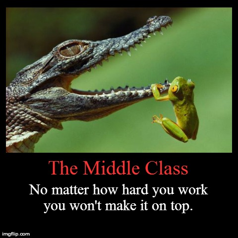 As demotivating as I can possibly be.  | The Middle Class | No matter how hard you work you won't make it on top. | image tagged in funny,demotivationals | made w/ Imgflip demotivational maker