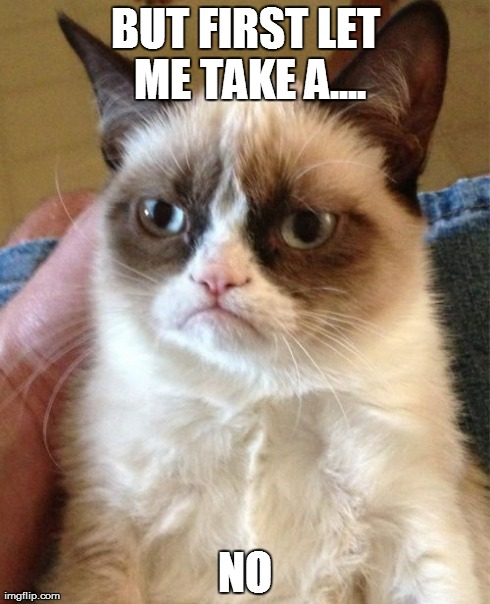 Grumpy cat no like selfie song.... | BUT FIRST LET ME TAKE A.... NO | image tagged in memes,grumpy cat | made w/ Imgflip meme maker