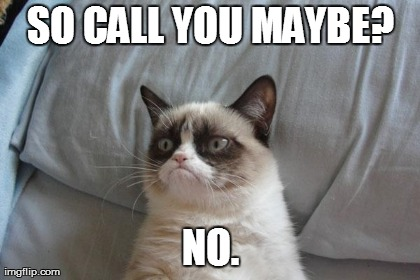 Grumpy Cat Bed | SO CALL YOU MAYBE? NO. | image tagged in memes,grumpy cat,call me maybe | made w/ Imgflip meme maker